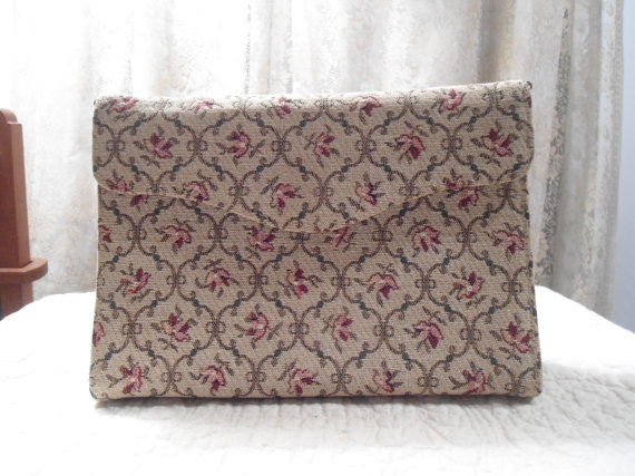 Свадьба - Vintage Tapestry Purse Gold Double Chain Chic Shabby Wedding  Victorian Art Nouveau Shabby Chic Art Deco Victorian Wedding Clutch Hand Bag