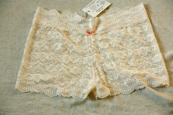 Wedding - White cream rose lace see trough panties