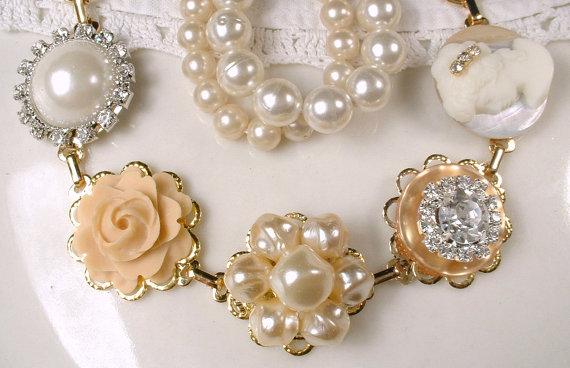 Reserved Ooak Vintage Cream Ivory Pearl Rhinestone Gold