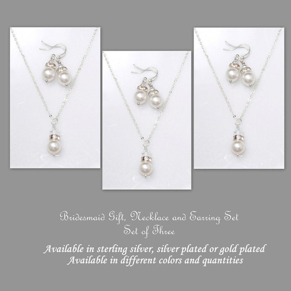 Bridesmaid Jewelry Set 3 Swarovski White Pearl Necklace And Earring Sets Gift