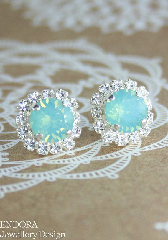 Hochzeit - Mint opal earrings,Bridesmaid earrings,Aqua mint earrings,Seafoam earring, Aqua stud earrings, Bridesmaids gift, Beach Bridal jewelry