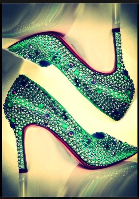 Wedding Shoes Emerald Green Pump Sparkle Cinderella