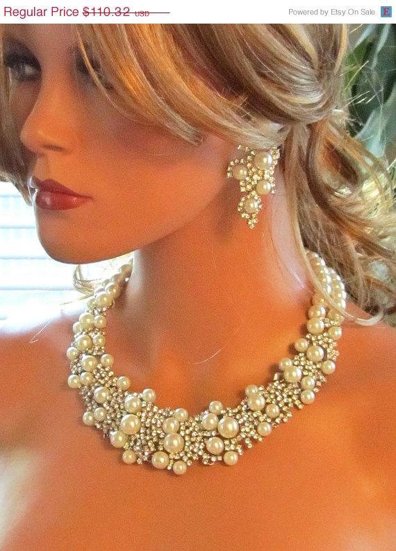 Hochzeit - bridal statement, Bridal bib necklace earrings , pearl rhinestone ribbon bridal necklace, bridal crystal necklace,wedding jewelry