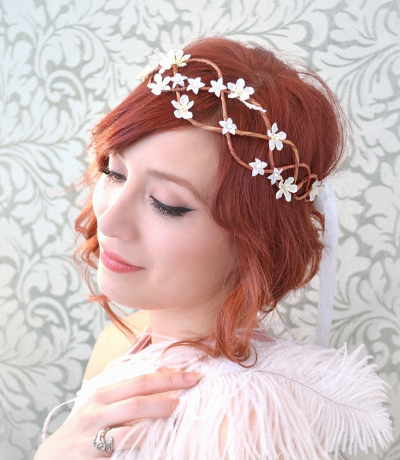 Wedding - Wedding crown, bridal head piece, white flower circlet, floral wreath, hair accessories