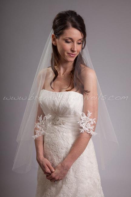 Hochzeit - Ivory Bridal Veil Single Layer Light Ivory Alencon Lace, Hand Beaded Lace Wedding Veil - Monica