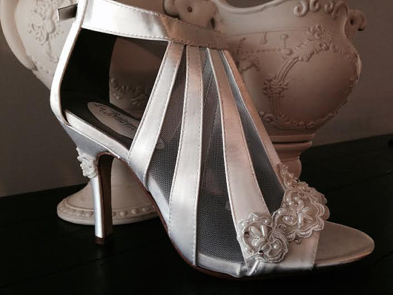 Wedding - Peep Toe Pump Bride Wedding Shoe Custom Wedding Shoe Beaded Lace Satin Zipper Back Open Toe Heel