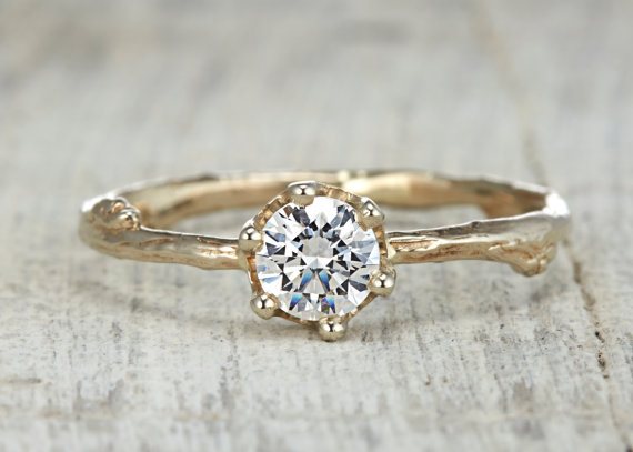 Свадьба - Garland Solitaire Engagement Ring - 14kt Gold and White Sapphire, Moissanite or Diamond Customizable Twig Engagement Wedding Ring