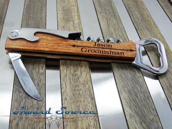 Hochzeit - 11 Groomsmen Knife Wine Bottle Openers