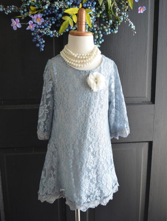 Свадьба - Dove Gray Lace Flower Girl Dress, Gray Lace dress,  Wedding dress, bridesmaid dress,  Vintage Style Dress Tutu