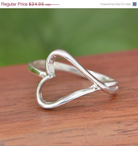 Mariage - Wedding Sale Sterling Silver Heart Ring - Heart Ring - Silver Heart Ring - Silver Ring - Sterling Ring - Swirl Jewelry