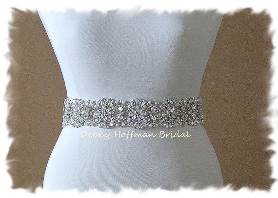 زفاف - SALE ~ Vintage Inspired, 23 inch Pearl Crystal Wedding Sash, Crystal Pearl Bridal Sash, Belt, No. 4069-23, Pearl Jeweled Wedding Dress Sash