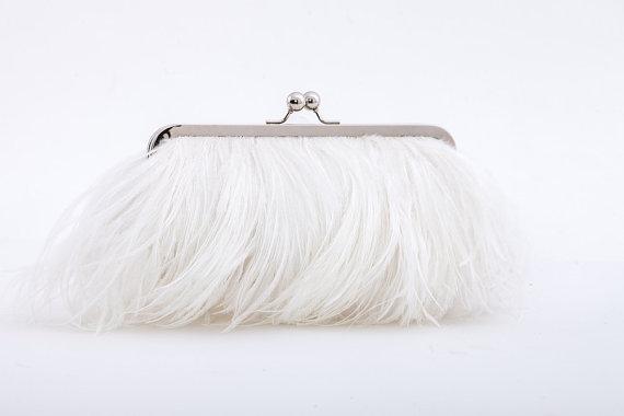 Mariage - Ostrich Feather Clutch - White - wedding purse - bridal clutch - monogram