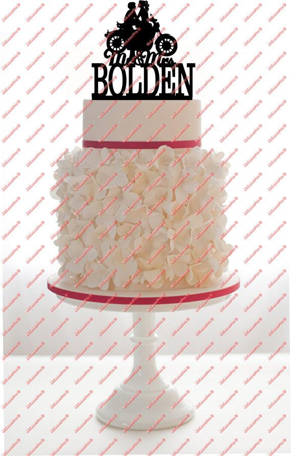 زفاف - Custom Wedding Cake Topper Mr and Mrs with a Motorcycle, your last name, choice of color and a FREE base for display