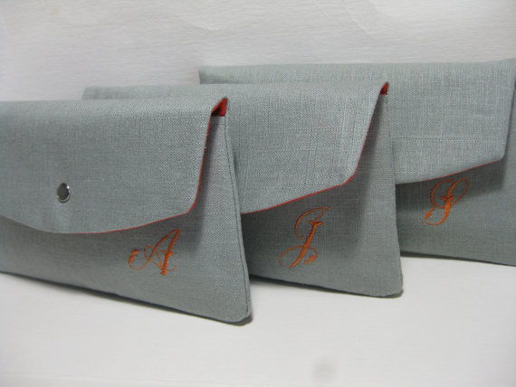 Wedding - Bridesmaid Clutches/Bridesmaid Gift/Wedding/  Linen Clutch with Monogram / Angled Envelope Clutch, Purchase 8 Get 1 FREE