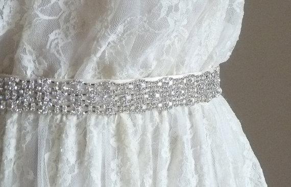 "Свадьба - 1"" inch wide wedding belt, Bridal Crystal Belt, crystal sash - MONA DELUX - Ships in 1 week"