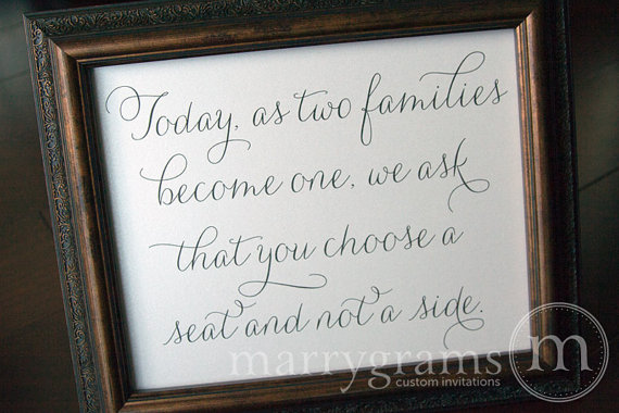 Wedding - Today as Two Families Become One, Choose a Seat Not a Side - Wedding Reception Open Seating Signage - Matching Numbers Available SS01