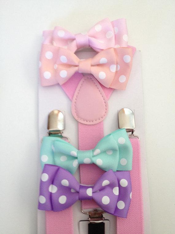Hochzeit - Easter Boys Bowtie & Suspender Set Pastel Mens Bowtie light pink Neck Ties Pink Polka Dot Groomsmen Wedding Ring Bearer Suspender Sets