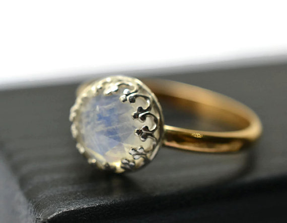 Mariage - Blue Moonstone Ring, 14K Gold Fill Engagement Ring, Handforged Natural Gemstone Ring