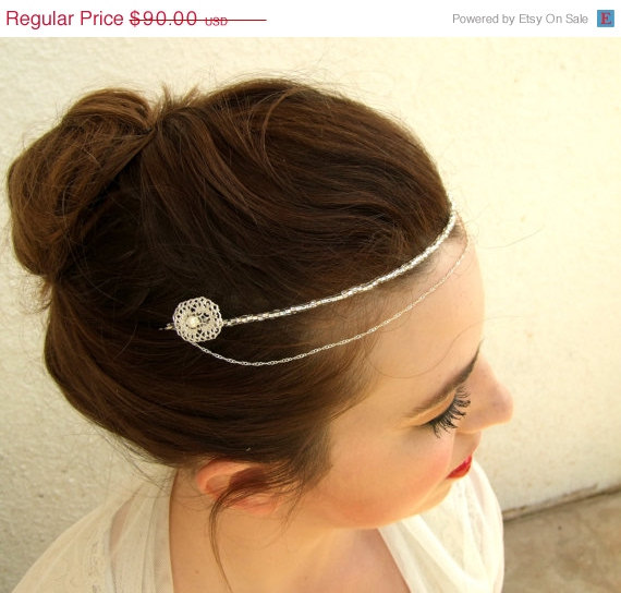 Mariage - SALE Bridal Headband, Wedding Hair Accessories, Silver Headband, Silver Hair Piece, Bridal Halo, Bridal Crystal Headband,Forehead Band