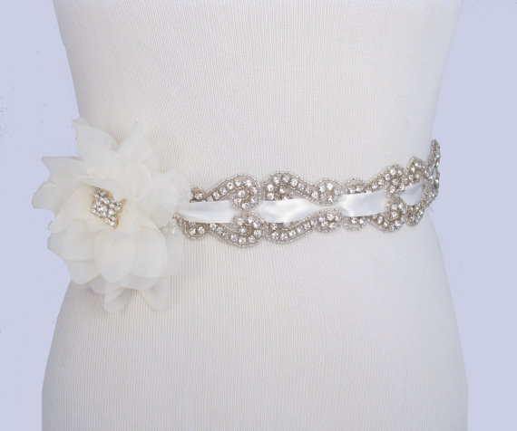Crystal Rhinestone Wedding Dress Sash Satin Ribbon Beaded