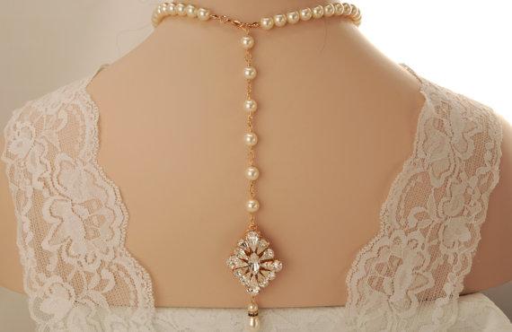 Wedding - Bridal back drop necklace-Rose gold Swarovski crystal bridal backdrop necklace-Wedding necklace-Wedding jewelry-Rose gold brooch necklace