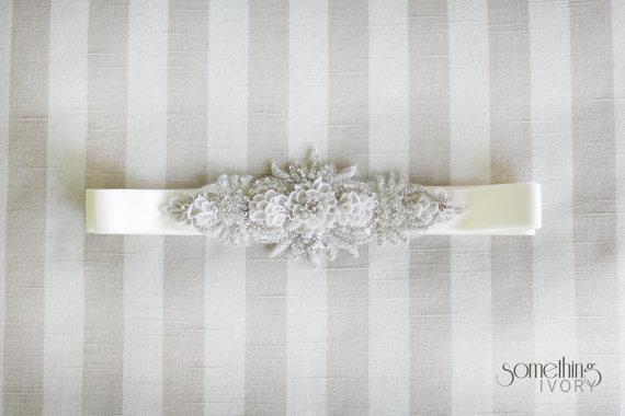 Wedding - JORDAN - Beaded Rhinestone Bridal Sash, Wedding Belt