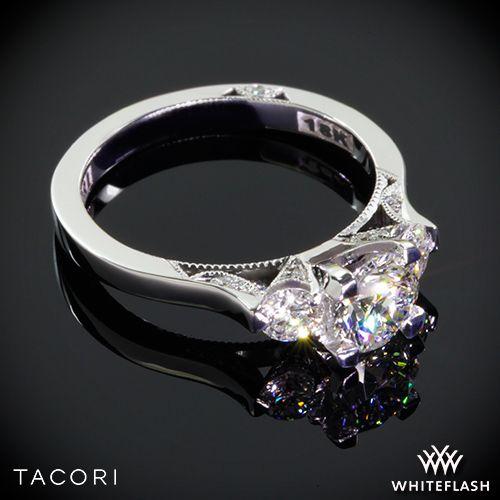 زفاف - 18k White Gold Tacori 2623RD Dantela Three Stone Engagement Ring