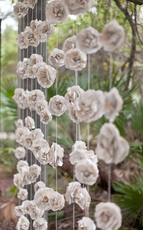 Curtain of 12 garlands paper flowers roses garland backdrop from curtain of 12 garlands paper flowers roses garland backdrop from vintage book pages photo prop eco wedding garland paper flowers backdrop mightylinksfo