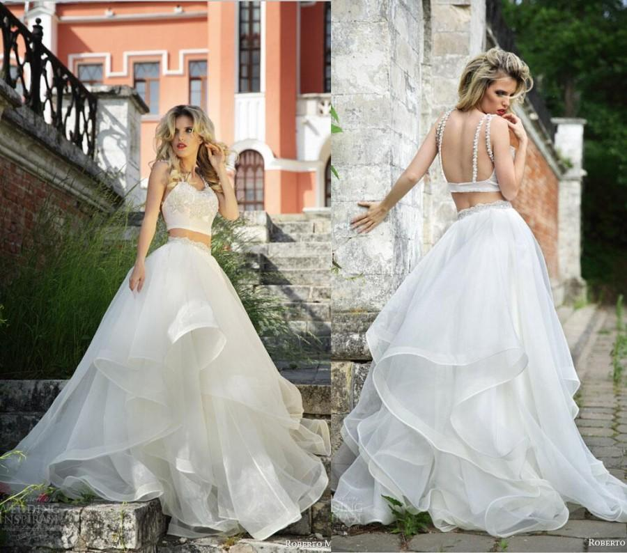 New Arrival Two Piece Roberto Motti Backless Wedding Dress Organza Ruffles Bridal Gowns 2015 Sweep Train Plus Size Dresses Online With 12016