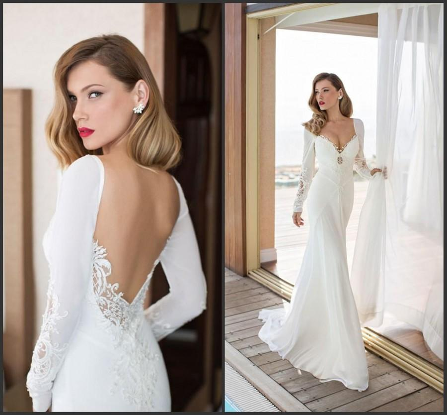 Mariage - Spring Long Sleeve Julie Vino 2015 Garden Wedding Dresses A-Line Applique Sweep Open Back Chiffon Bridal Dresses Custom Backless Ball Gowns Online with $109.66/Piece on Hjklp88's Store