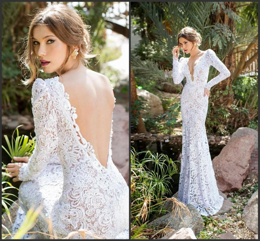 Nozze - Amzing 2015 Long Sleeve Mermaid Wedding Dresses Lace Spring Julie Vino Bridal Dress Deep V-Neck Garden Illusion Backless Wedding Gown Online with $119.33/Piece on Hjklp88's Store