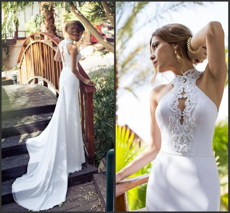 Wedding - Julie Vino 2015 Newest Mermaid Wedding Dresses Applique Beads Satin Sweep Train High Neck Spring White Bridal Dress Garden Gown Hollow Online with $109.66/Piece on Hjklp88's Store