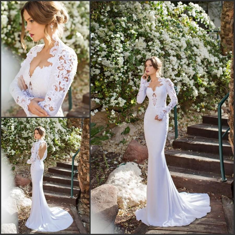 Long Sleeve Julie Vino 2015 Mermaid Lace Wedding Dresses Applique Chiffon Swe