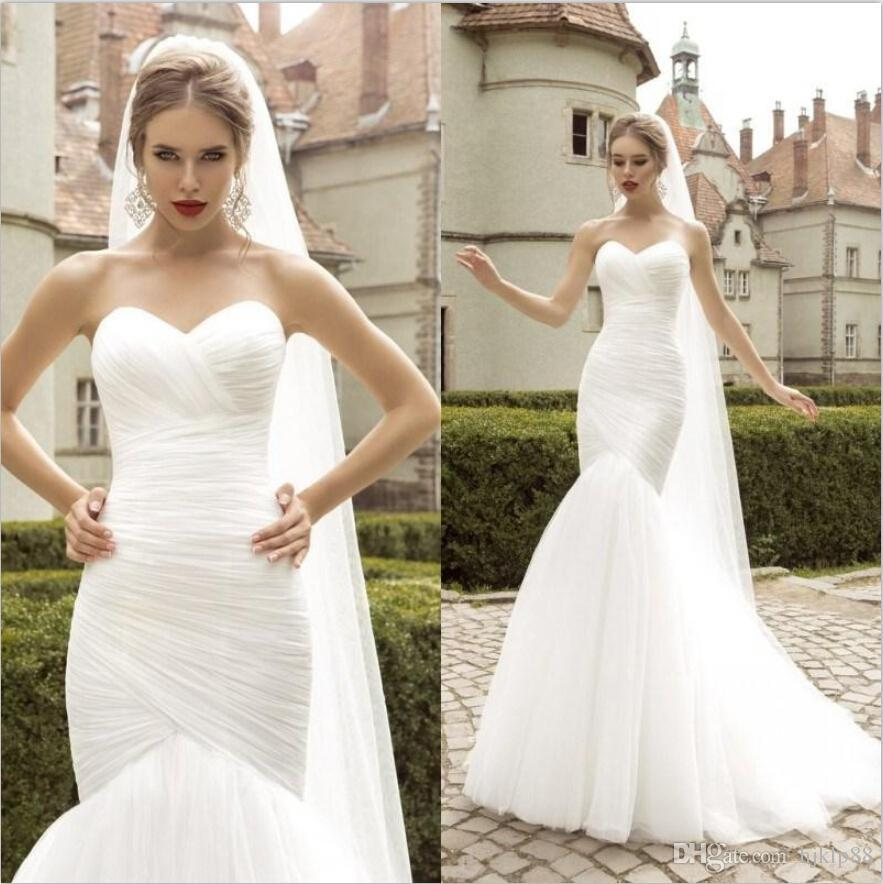 Elegant Lace Tulle Wedding Dresses Simple Design 3 4 Lace: 2015 Sexy Sweetheart Strapless Mermaid Wedding Dresses