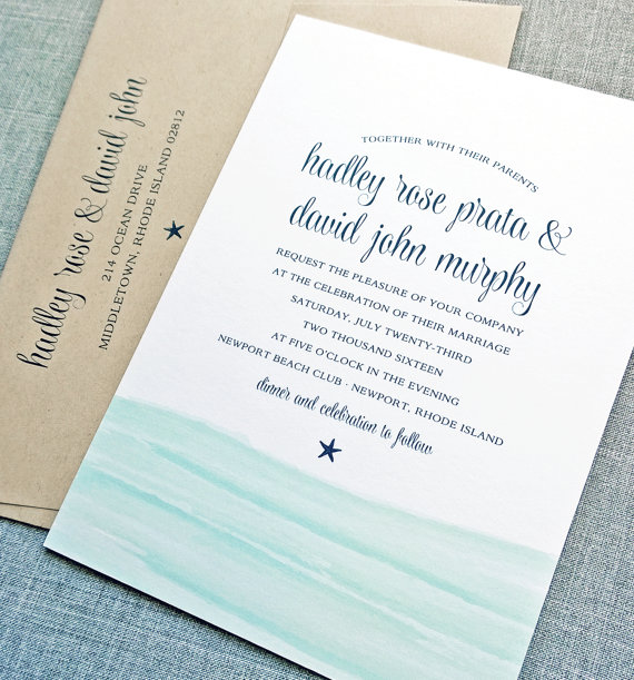 زفاف - Hadley Watercolor Waves Beach Wedding Invitation Sample - Aqua Blue Waves Wedding Invitation