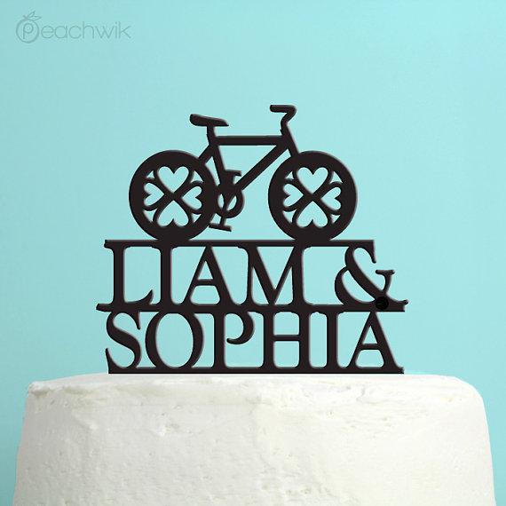 زفاف - Wedding Cake Topper - Personalized Bicycle Cake Topper -  Custom Names Wedding Cake Topper - Custom Colors -Peachwik Cake Topper - PT22