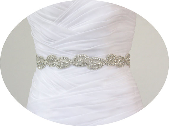Hochzeit - NATHALIE - Bridal Crystal Rhinestone Sash, Wedding Rhinestone Sash, Bridal Beaded Belt
