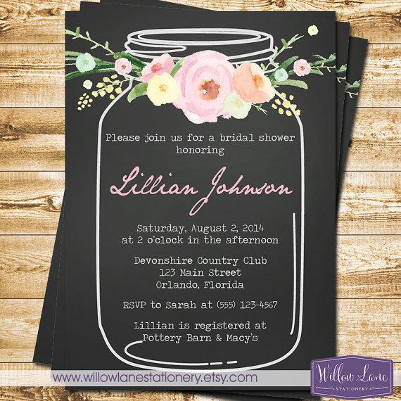 vintage mason jar bridal shower invitation pink flowers blue mason jar bridal shower invite chalkboard wedding shower 1324 printable