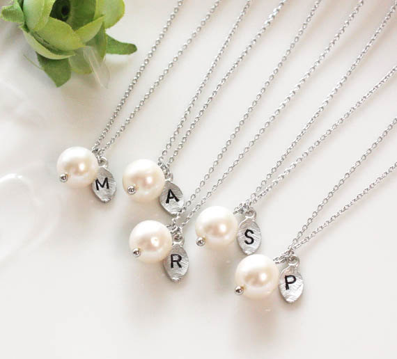 Bridesmaid gifts set of 7 8 9 leaf initial pearl pendant bridesmaid gifts set of 7 8 9 leaf initial pearl pendant necklacepersonalized necklace freshwater pearl swarovski pearl aloadofball Images