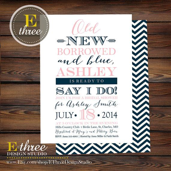 Wedding - Bridal Shower Invitation - Pink and Navy, Old New Borrowed and Blue Bridal Shower Invitation - Typography Weddng Shower Invite