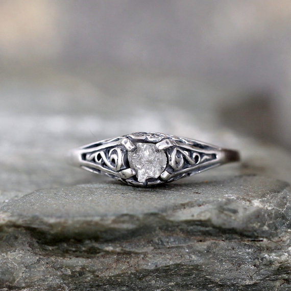 Mariage - Antique Style Rough Diamond Engagement Ring - Raw Uncut Rough Diamond Gemstone and Dark Sterling Silver Filigree Ring  - April Birthstone