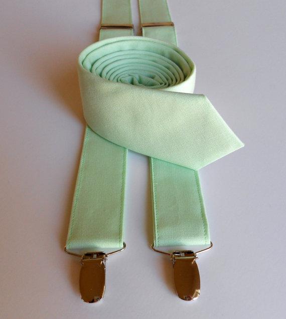 Свадьба - Mint Necktie and Suspenders - Skinny or Standard Width - Men's, Teen, Youth