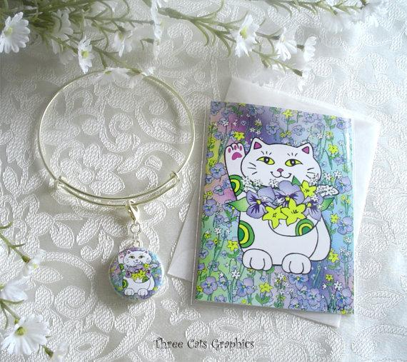 Mariage - Spring Bouquet Neko Lucky Cat Expandable Stackable Charm Bracelet with Matching ACEO Print/Mini Card