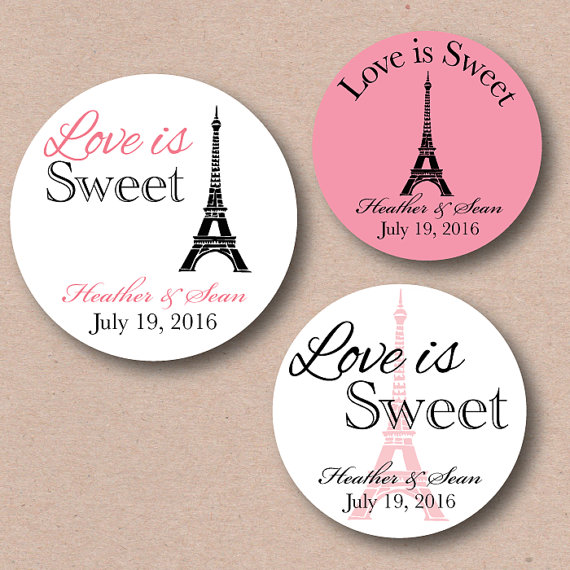 french parisian themed wedding stickers bridal shower favor labels