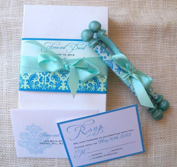 Mariage - Elegant wedding invitation suite, boxed damask fabric scroll in aqua and turquoise, romantic frozen winter or mermaid fairytale event {25}