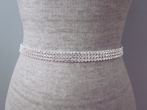 8085554f73 3 Row Silver Rhinestone Bridal Wedding Sash / Belt, Bridesmaid Sash ...