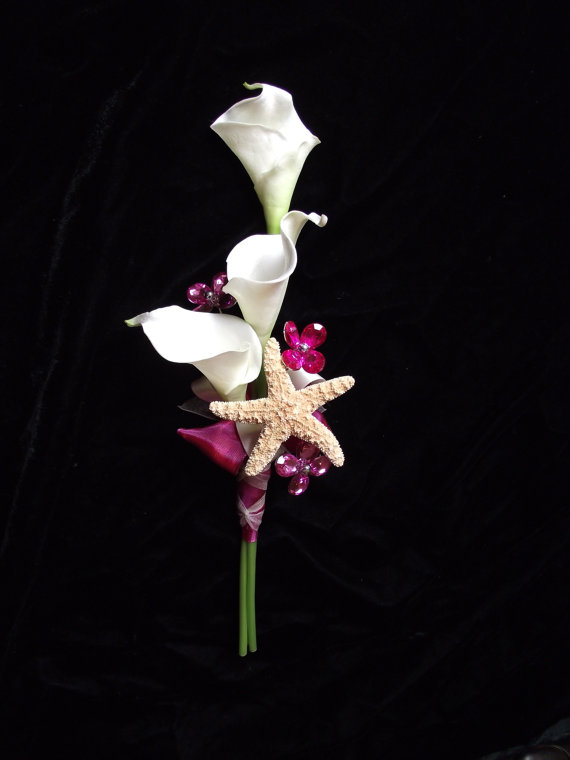 Mariage - KAYLA Listing: affordable hot pink, fuschia wedding bouquet, pink wedding package, starfish bouquet, florist made,