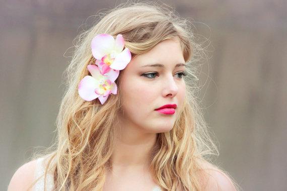 Свадьба - pink orchid flower hair clips, orchid flower hair clip