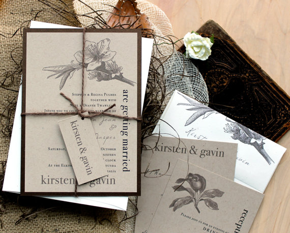 "Wedding - Rustic & Chic Wedding Invitations, Farm Wedding, Country Wedding Invites ""Rustic Magnolia"" - Deposit"