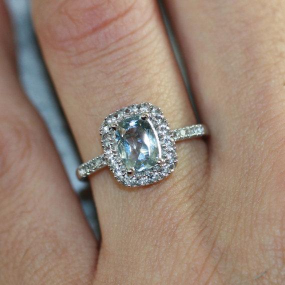 Свадьба - Aquamarine Halo Engagement Ring in 10k White Gold Diamond and Cushion Aquamarine Ring March Birthstone Gemstone Ring, Size 7 (Resizable)